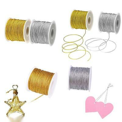 BTNOW 2 Spool 218 Yards// 656 Feet Silver Metallic Cord Jewelry Thread Craft String for Christmas Ornaments Hanging and Craft Making Silver