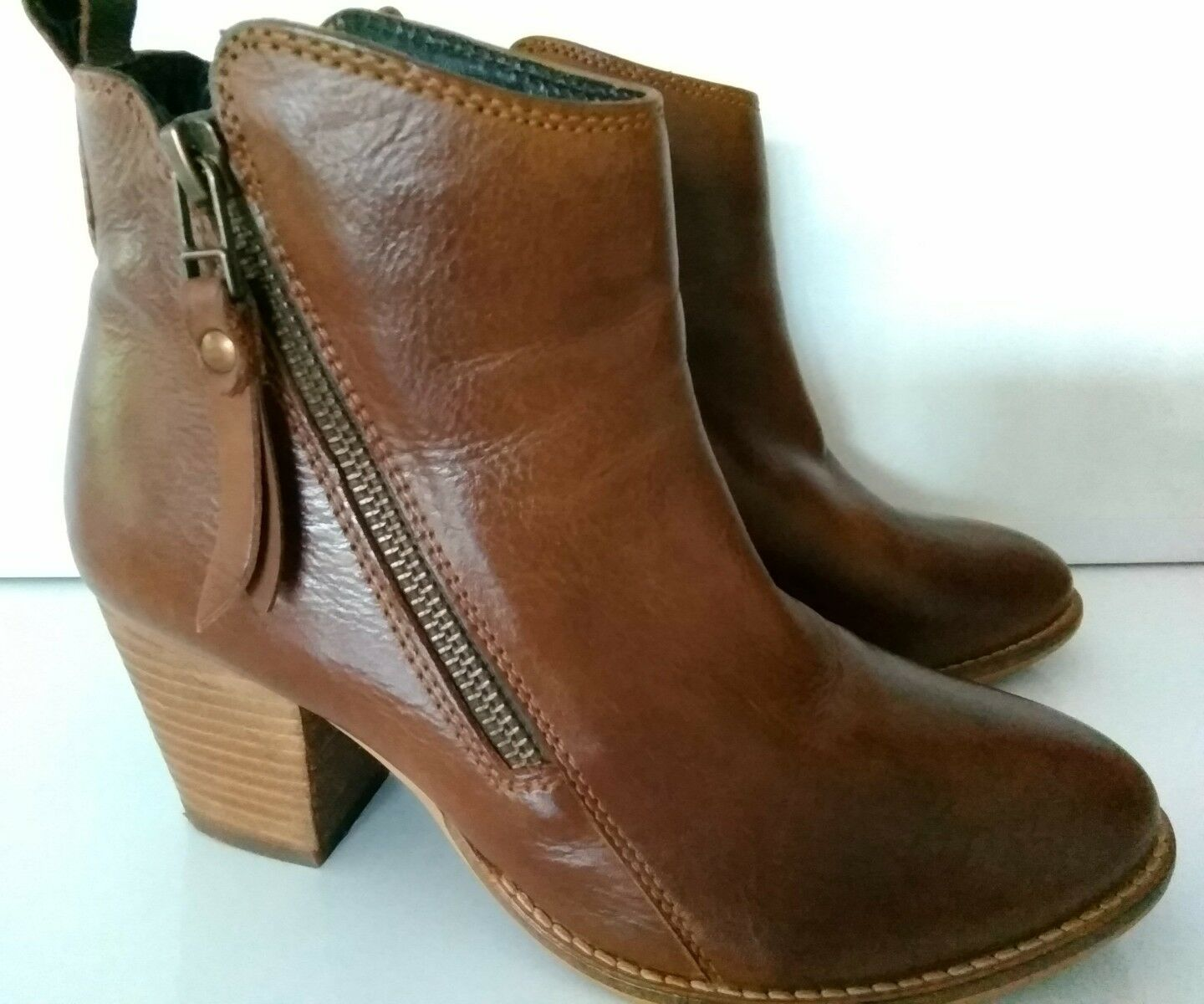 """DUNE Ladies """"PONTOON"""", Tan Leather Ankle Boots,  SIZE 36, RRP £99 - BARGAIN"""