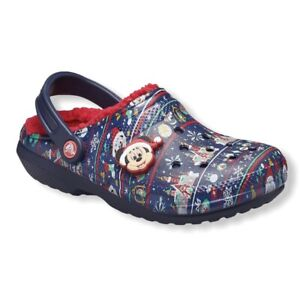 NWT-Disney-Mickey-Mouse-Holiday-Crocs-Clogs-Shoes-Ugly-Sweater-Fleece-M7-W9