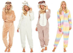 All In One Pyjamas Fleece Ladies Womens Novelty Animal Hooded Winter Christmas