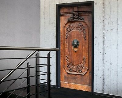 Elaborate Wooden Door Sticker in Black & Brown -Door Decor, Door wallpaper