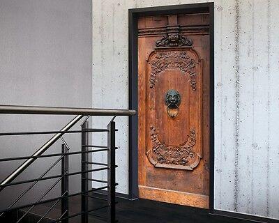 Elaborate Wooden Door Sticker in Black & Brown -Door Decor, Door wallpaper