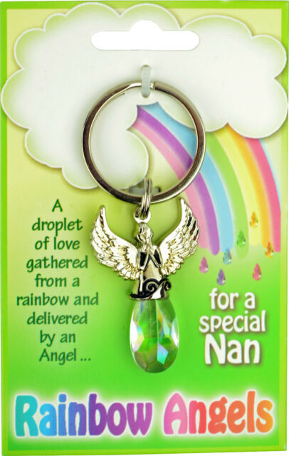 RAINBOW ANGEL CRYSTAL KEYRING GIFT SET CHARM SILVER KEY RING NEW ANGELS KEYRINGS