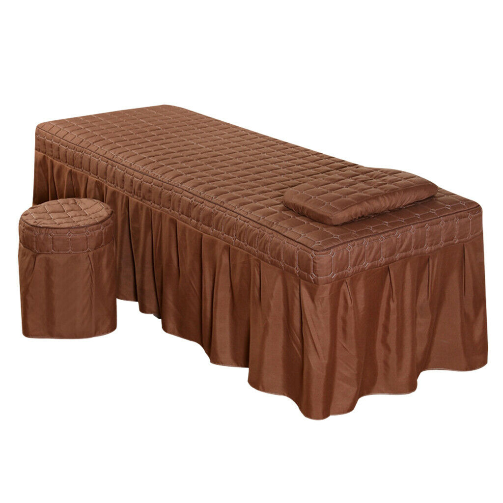 Massage Bed Linen Set - Table Valance Sheet Pillowcase Stool Cover S_Coffee