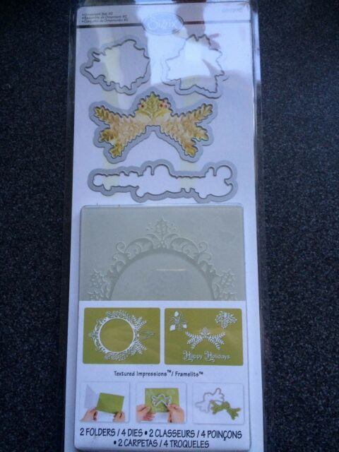 SIZZIX ORNAMENT SET #2 4 DIES 2 EMBOSSING FOLDERS CHRISTMAS WREATH FRAME HOLLY