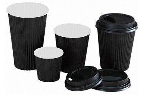 1000 x 16oz noir papier kraft tasses de café kraft ripple 3 plis + noir couvercles