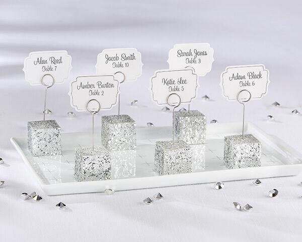 Argent Paillettes Cube Place Carte Porte-Photos mariage faveur 24 48 72 96