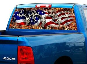 P443 American Flag Deer Rear Window Tint Graphic Decal