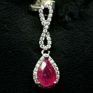 NATURAL-5-X-7mm-PINK-RUBY-amp-WHITE-CZ-STERLING-925-SILVER-PENDANT
