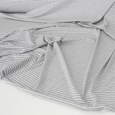 Samt Weich Baumwoll-JERSEY Bekleidungsstoff Deko Stoff Gestreift Meterware