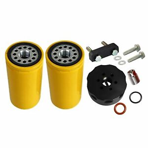 Duramax CAT Fuel Filter Adapter with Filter Fit for 01-16 GM Duramax 6.6L Diesel Black