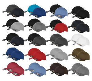 2er-ORIGINAL-FLEXFIT-CAP-BASEBALL-CAPS-graue-Unterseite-S-M-L-XL-XXL-BASECAP
