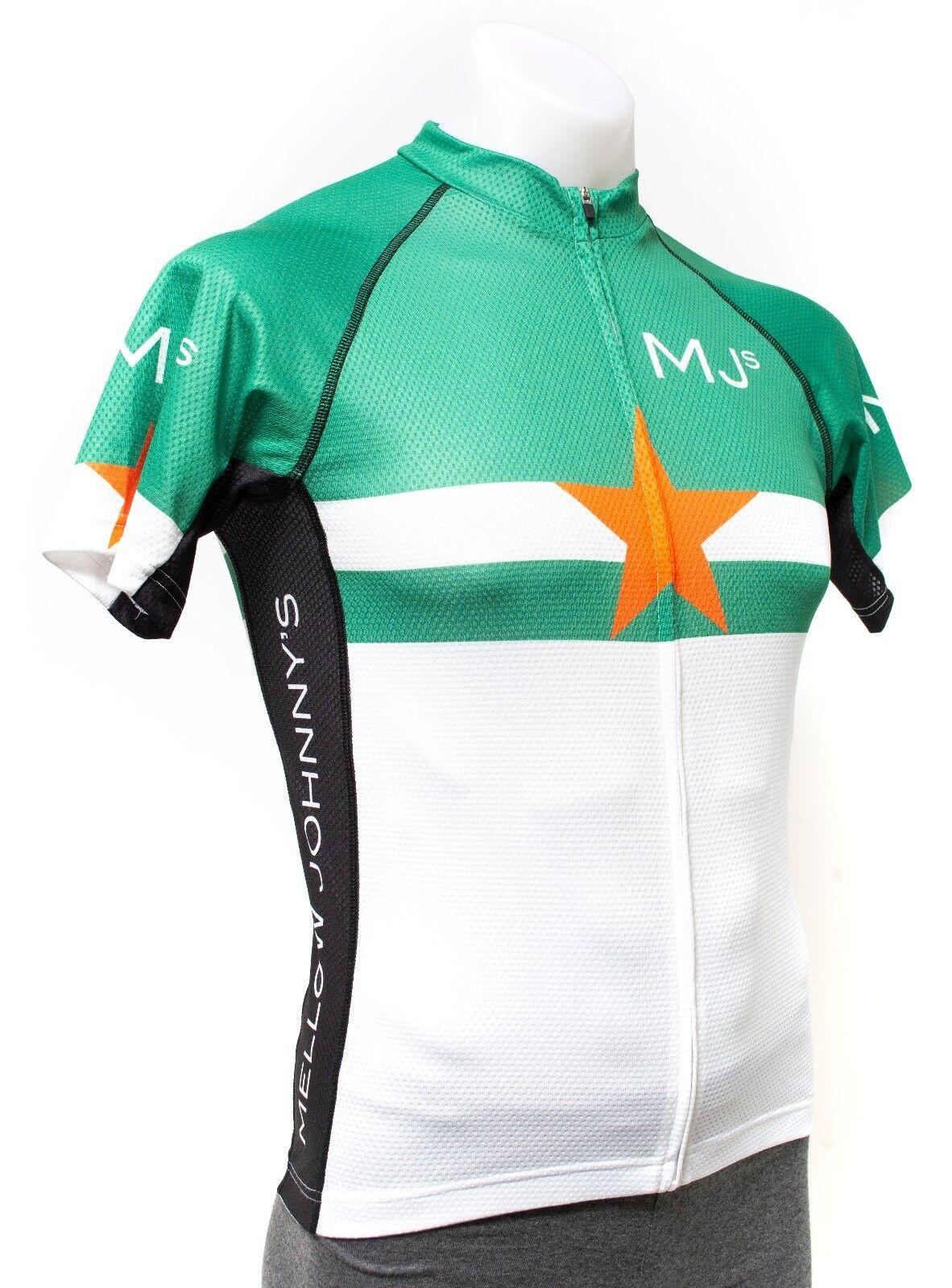 Panache Men Short Sleeve Zip Road Mtn Bike Jersey Mellow Johnny's Texas Green