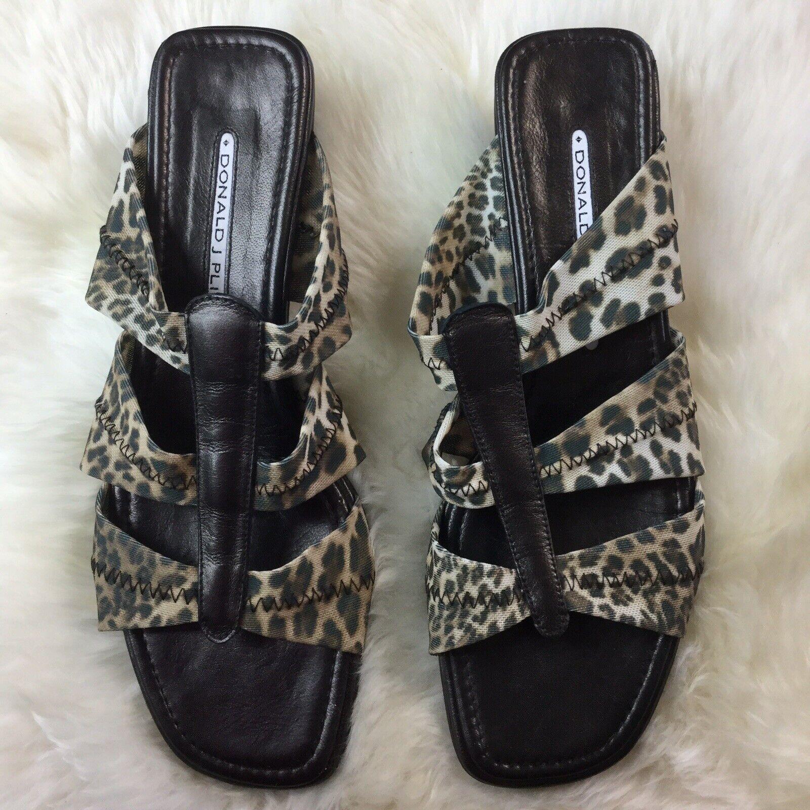 Donald J Pliner Domino Leopard Print Heel Slides Size 8
