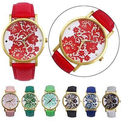 Fashion Women's Watch Round Lace Printed Faux Leather Quartz Analog Wrist Watch
