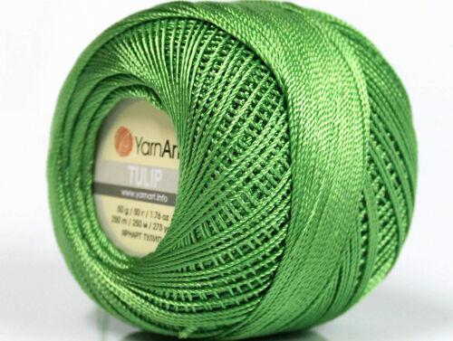 100/% Microfiber Lot of 6 Skeins YarnArt TULIP Hand Knitting Yarn Green