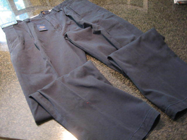 NWT - Mens RALPH LAUREN Classic Fit Pleated Navy bluee Cotton Pants (34 x 34)