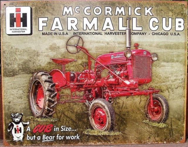 "12/"" INTERNATIONAL FARMALL CUB CADET TRACTOR /""A BEAR FOR WORK/"" DECAL"
