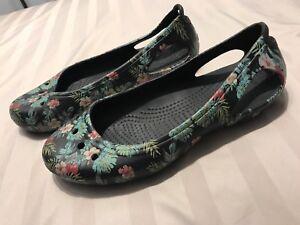Crocs Womens Shoes Flats Black Floral