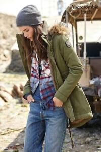 Abercrombie-amp-Fitch-by-hollister-Womens-Fur-Lined-Parka-coat-jacket-size-sMALL