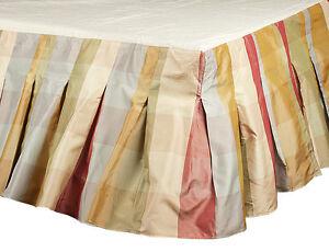 Image Is Loading Buffalo Checks Faux Silk Taffeta Box Pleated Bed