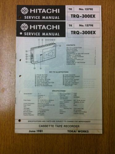 Hitachi TRQ-300EX  Cassette Tape Recorder Service Manual Vintage 80/'s