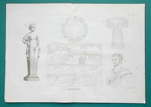ANTIQUITIES-Bust-of-Brutus-Grand-Reserved-1804-Copperplate-Print
