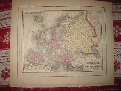 MINT ANTIQUE 1895 EUROPE MITCHELL MAP RUSSIA CRIMEA AUSTRIA HUNGARY PRUSSIA NR