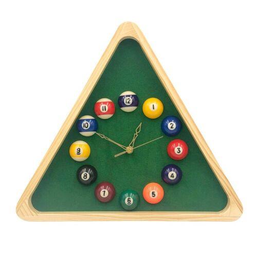 13 Inch Billiard Quartz Clock with Solid Wood Frame Creative Wall Clock fo E4Y1