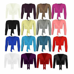 New-Ladies-Tie-Up-Front-Womens-Long-Sleeve-Plain-Cropped-Shrug-Cardigan-Top-8-14