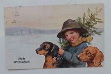 26482 AK Mastini con giovani Buon Natale PC Dachshund Happy Chrismas 1921