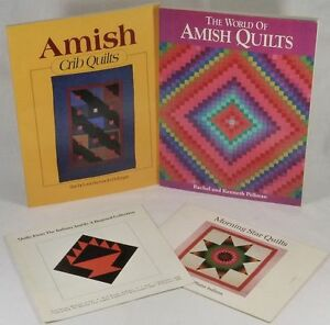 Four-Books-Pamphlets-Antique-Quilts-Amish-Indiana-amp-American-Indian