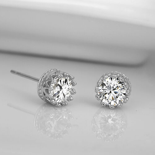 Charming Lovely 925 Sterling Silver Rhinestone Crown Ear Stud Earrings