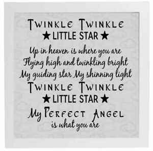 Vinyl Sticker Fits 20 X 20cm Twinkle Twinkle Little Star Up In