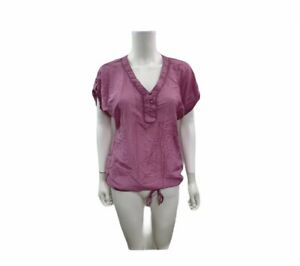 Ann Taylor Loft Women's Size XS Short Sleeve V Neck Solid Purple Blouse
