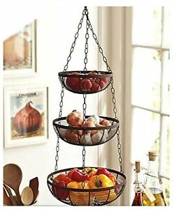 Details about 3 Tier Fruit Basket Hanging Kitchen Storage Holder Metal  Chain Wire Organizer