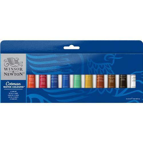 Winsor & Newton Cotman Watercolour 12 x 8ml Paint Tube Set of Assorted Colours