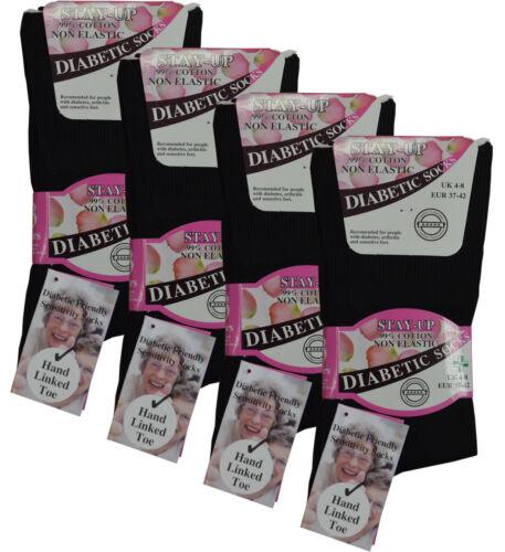 Black Ladies Diabetic Socks Size 4-7