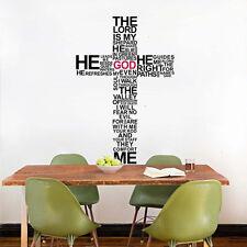 The Lord is my Shepherd Cross Bible Verse Vinyl Sticker Home Wall Art Decal Deco