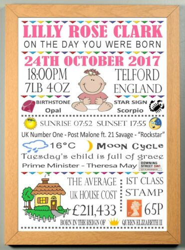 The Day You Were Born Nursery New Born Baby Girl Personalised Memory A4 Print