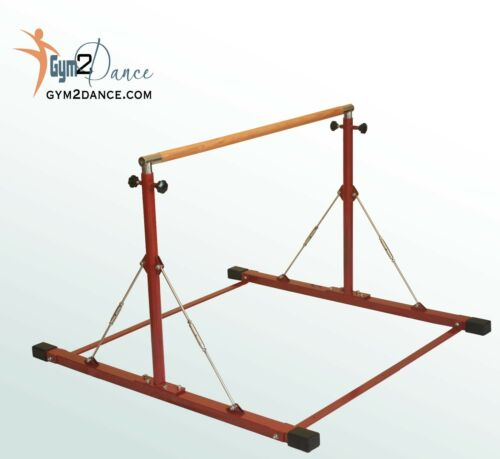 """1.5/"""" solid wood 8/' Mat Combo Adjustable 3/'-5/' Gymnastics Bar LE Brick Red"""
