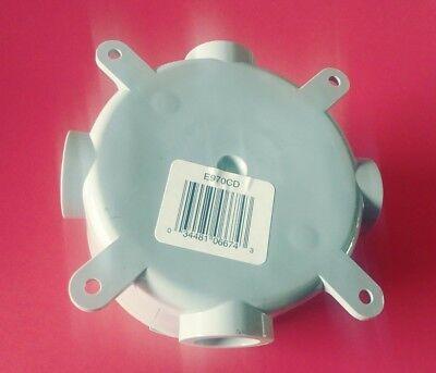 """1//2/"""" Non Metallic W// Cover NOS Carlon E97OCD 4-1//8/"""" Diameter Round Junction Box"""