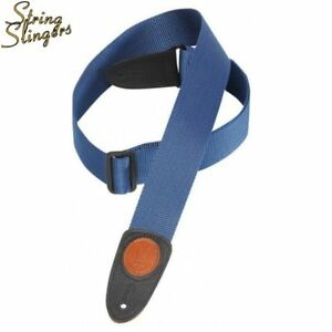 Levy-039-s-MSS8-2in-Polypro-Guitar-strap-with-Leather-ends-Navy
