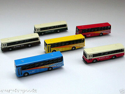 6x N Scale 1/160 Diecast Bus Car Train Layout Set Track