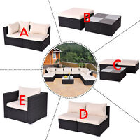 Black Outdoor Patio Rattan Furniture Set Infinitely Combination Cushion Wicker