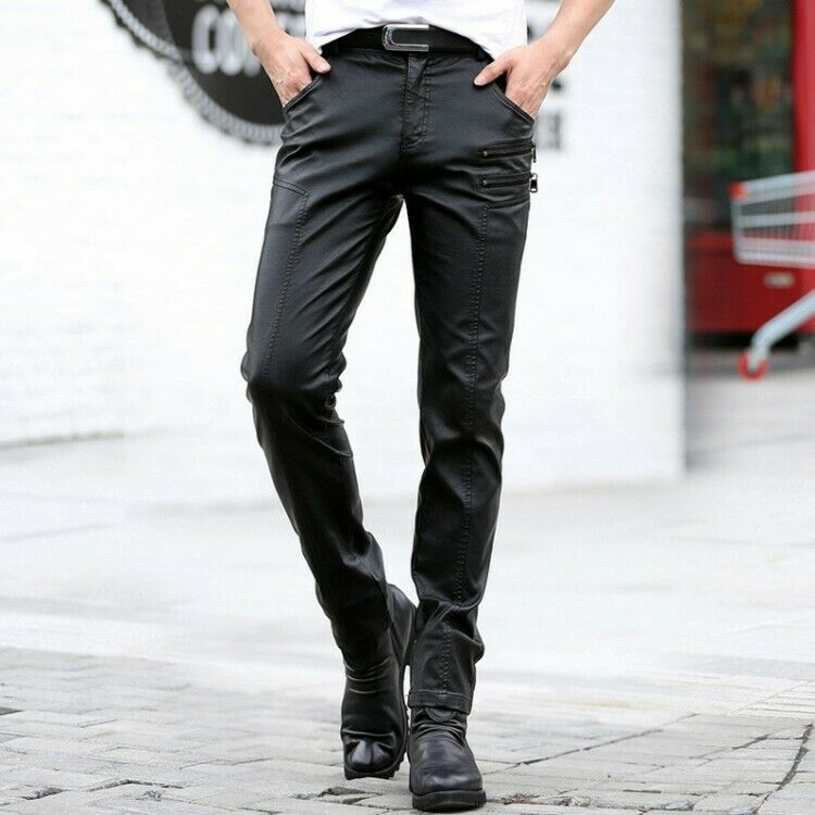 Mens Zipper Punk Motorcycle Trousers SLim Fit Leather Pants Mid-rise Casual Pant