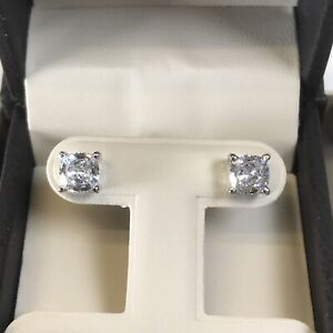2Ct-Studs-Diamond-Earrings-Cushion-Fancy-White-Man-Made-14k-Solid-Gold