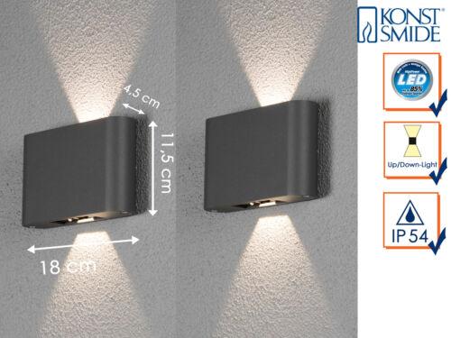 Hausbeleuchtung Außen 2x Wandleuchte Anthrazit Up /& Down LED Fassadenbeleuchtung