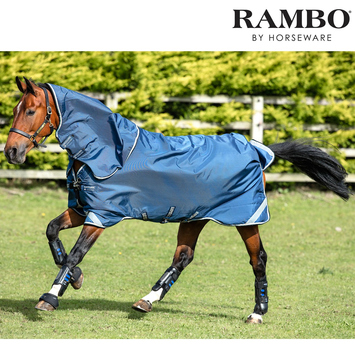 Rambo Tech Duo Turnout Rug (Denim Blau/Tan/Baby Blau/Navy) FREE UK Shipping