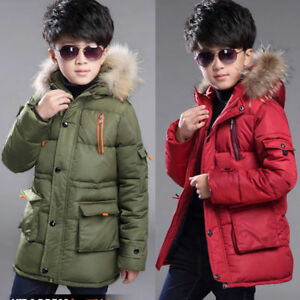 LPATTERN Kids Boys Winter Down Jacket Puffer Coat Warm Padded Jacket Printed School Parka Thickened Cotton Coat Casual Quilted Coat Snow Jacket with Faux Fur Hood